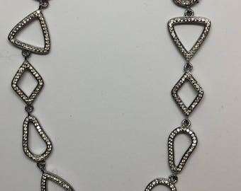 Pave white topaz sterling silver  necklace connector