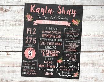 Memories and Milestones Chalkboard Style Birthday Board: Floral or Kitties