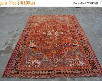 BIG SALE 245 x 165 cm Antique Persian Sherazi Medallion Area rug, Handmade rug, Wool Area Carpet Persian rug, Traditional rug, Antique rug,