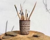 Ceramic Utensil Holder - Carved Boho Cylinder Pot - Pencil Holder or Vase - Handmade Pottery - Tribal Decor - Tribal Pattern - Ready to Ship