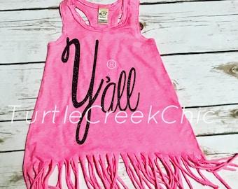 Y'all Pint Size, Adorable Toddler Dress, Statement Dress, Fringe, Cute Fringe Dress, Hot Pink, Trendy, Y'all,