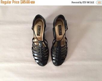 20% OFF SALE... GLADIATOR heels // black leather strappy heels // T bar 9 West heels // size 8.5