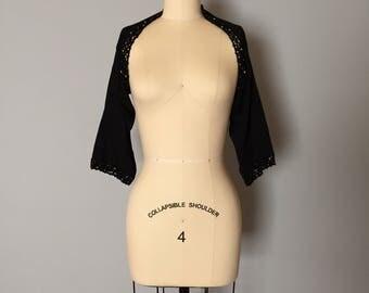 1990s black knittes bolero | cropped bolero top with crochet and beaded trim