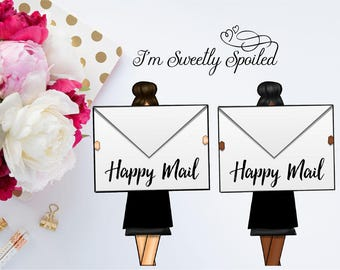 Happy Mail Stickers, Planner Stickers, Mail Stickers, Cute Stickers, I'm Sweetly Spoiled, Happy Planner, Brown Hair, Functional Stickers