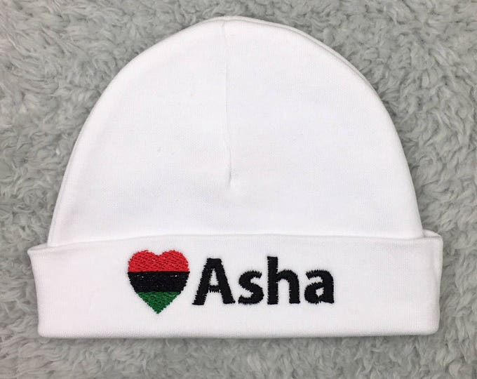 Personalized baby hat with Pan African flag - micro preemie hat, custom preemie hat, - African baby hat, baby shower gift, baby gift