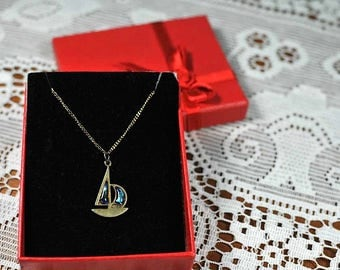 """Vintage 14k Solid Gold Chain Ship Pendant / Blue Sailing Ship Necklace / 18"""" Solid Gold Chain"""