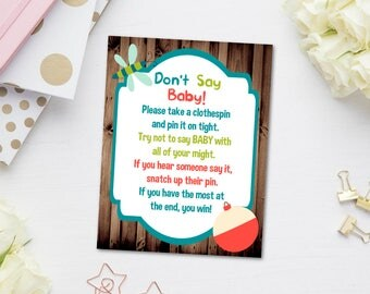 Fishing Clothespin Game, Rustic Baby Shower Clothespin Game, Donu0027t Say Baby  Game