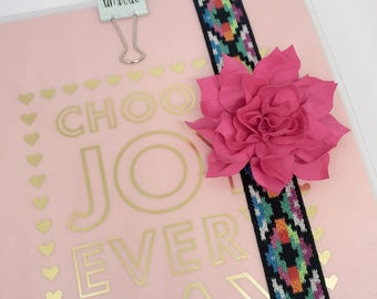 Flower Planner Band for Happy Planner Erin Condren Planner Notebooks Back To School Boho Pink Flower Girly School Supplies