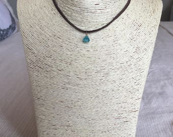 leather choker w/ blue charm