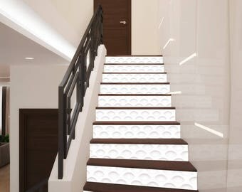 3d waves geometry stair decoration adhesive vinyl stair riser panels stairs risers sticker mural photo mural - Stickers Muraux Design Decoration
