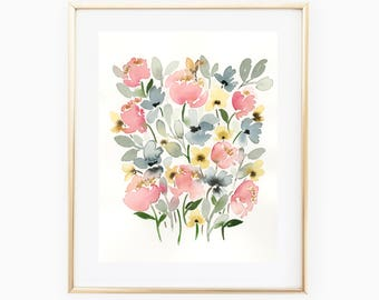 Pink Blue Yellow Flowers - 8x10 Original Watercolor