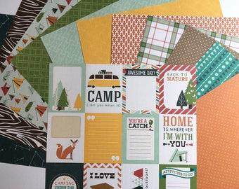 Happy Camper 12X12 Scrapbook Paper and Sticker Set