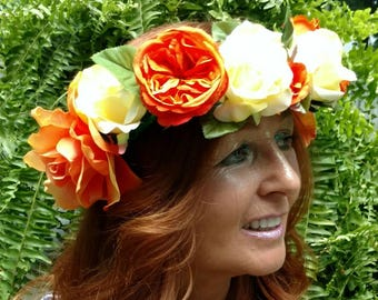 Flower Crown- Orange and yellow