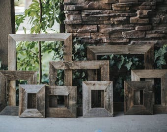 """Reclaimed Wood Rustic Frames - Built To Order - Naturally Weathered Salvaged Wood Picture Frames - 3"""" Wide - Primitive / Farmhouse Design"""