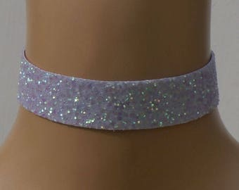 Lilac Glitter Fabric Choker Satin Ribbon Ties Free Size Wedding