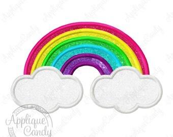 Rainbow Applique Machine Embroidery Design File 4x4 5x5 6x6 5x7 8x8 9x9 6x10 clouds cloud baby infant INSTANT DOWNLOAD