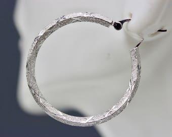 Unique 14k White Gold Stippling Hoop Earrings