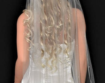 "108"" Pearls Scattered Cathedral Veil with Cut Edge"