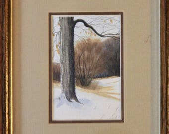 Winter Forest - Signed and Framed Watercolor Painting