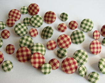 Handmade Fabric Buttons, Set of 10, Red and Green Gingham, Christmas Decoration, Covered Sewing Buttons, Small and Medium, 11 and 17 mm