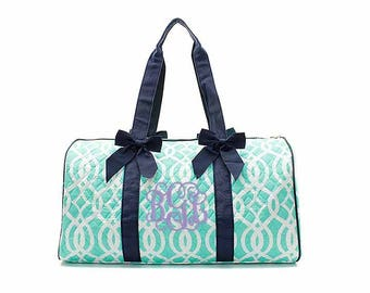 Mint Vine Quilted duffle bag, Monogrammed duffel bag Personalized Tote Paisley Travel Tote Cheer Gym Paisley Weekender