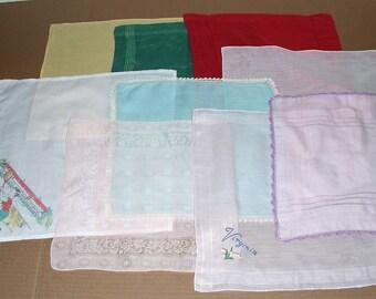 13)  Nine Vintage Hankies.  Vintage Handkerchiefs.  Solid Colors Hankies.