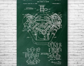 Chrysler 426 Hemi V8 Engine Poster Patent Art Print Gift, Hemi Engine, Car Engine, Hemi Poster, Mechanic Gift, Auto Shop Art, Car Wall Art