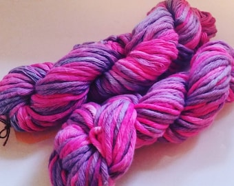 Rhubarb, hand dyed cotton yarn