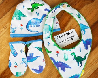 Dinosaur Hat Mittens and Bib for a Baby Boy in Organic Cotton