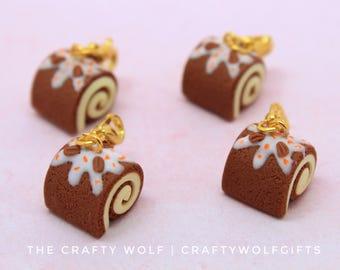carrot cake roll charm - polymer clay - miniature food jewellery - swiss roll - carrot cake - dessert - cake roll - polymer clay charm