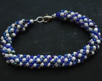 Blue and White Beaded Bracelet 18 cm Russian Spiral Stitch