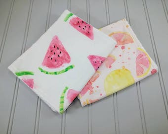 Watermelon Burp Cloth | Lemon Burp Cloth | Summer Baby Burp Cloth | Girl Burp Cloths | Baby Gifts | Burp Rags