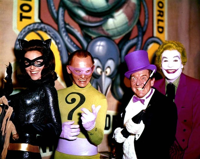 """Catwoman, Riddler, Joker and Penguin in the 1966 Film """"Batman"""" - 5X7 or 8X10 Publicity Photo (ZZ-703)"""