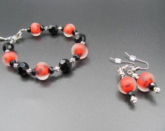 Red and Black Beaded Single Strand Bracelet with Matching Earrings Handmade Jewelry