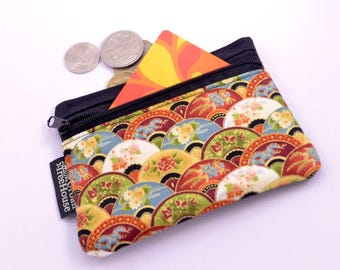 Coin purse, Asian pattern, red, blue and green with metallic gold highlights. gift/business card holder zipper pouch