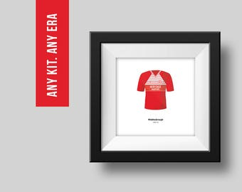 PERSONALISED Middlesbrough Single Football Kit Poster Art Print *FREE UK Delivery* Gift Idea