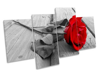 Red Rose Floral Flower Floorboard Multi CANVAS WALL ART Picture Print