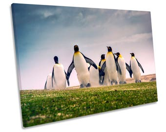 Happy Penguins Print CANVAS WALL ART Picture Framed