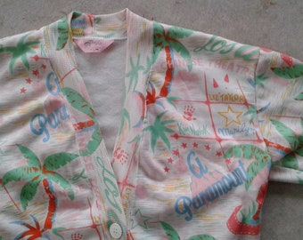 Vintage 80's / 90's Cardigan Sweater / Hollywood, California / Movie Stars / Made in Canada by Dolfin large