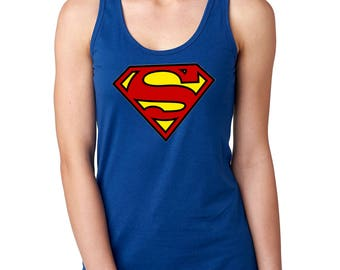 Supergirl Next Level Ideal Racerback Tank in Black and Royal