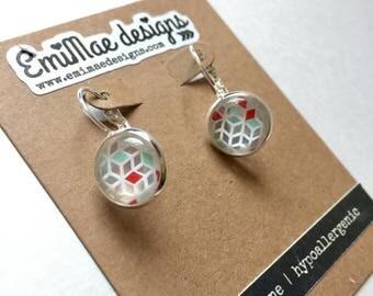 Geo design french hook earrings