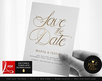 Faux Gold, PDF Save The Date Card, Wedding Save The Date Template Printable, Save The Date Card Template, Elegant Save The Date PDF (Sharon)