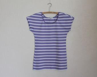 MARIMEKKO Women Shirt  Nautical Shirt Short  Sleeves Top Purple White Striped Sailor Blouse Marine Sweater Cotton Jersey T-Shirt Small Size