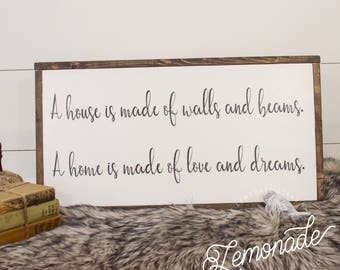 A House Is Made of Love Sign - Wooden Sign - Farmhouse Sign - Rustic Sign
