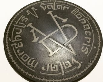 3D Printed Game of Thrones Coin of the Many Faced God Coaster / Plaque