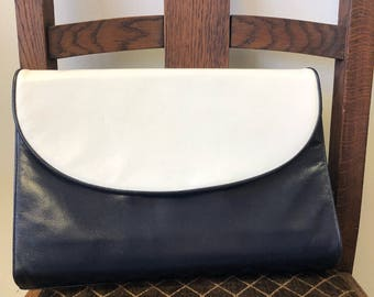 Vintage Navy & White Leather Clutch