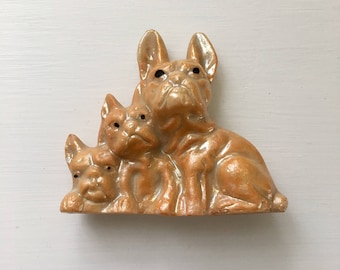 Frenchie Dog and Puppies Figurine