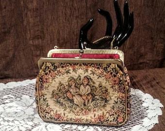 Vintage tapestry handbag, JR Miami, free shipping