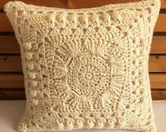 Sunburst Cream Cushion Cover 38cm x 38cm, Acrylic Aran