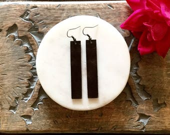 Dark Brown Leather Bar Earrings / Long Earrings / Dark Brown Earrings / Leather Drop Earrings / Statement Earrings / Leather Jewelry
